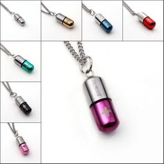 UMY Stainless Steel Cylinder Carving Cross Healing Pill Bottle Pendant Necklace Fashion Jewelry