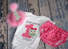 Girls Birthday Party Hat, Diaper Cover, Onesie - First Birthday, Smash Cake Pics, Photo Prop - Look Whoos One Owl, What a Hoot. $65.00, via Etsy.