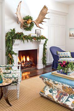 Tilton Finwick Living Room Mantel for Christmas