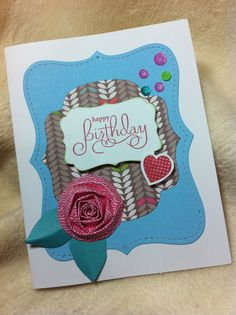 Very Pretty Lollydoodle Heart And Rose Handcrafted Birthday Greeting Card Homemade Birthday Cards, Homemade Greeting Cards, Birthday Greeting Cards, Birthday Greetings, Homemade Cards, Colour Pallete, Close To My Heart, Paper Design, Card Stock