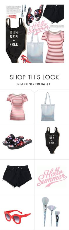 """Sun, Sea, Summer"" by beebeely-look ❤ liked on Polyvore featuring Hollister Co., Unicorn Lashes, FCTRY, stripes, summerstyle, DENIMCUTOFFS, denimshorts and twinkledeals"
