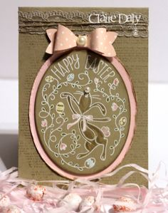 Stampin' Up! ... handmade Easter card from Art With Heart  ... kraft with pink and vanilla ... chocolate egg look ... pink paper bow ... fun image with a dancing bunny ...