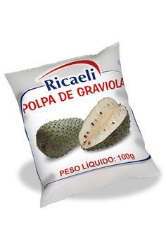 A Polpa de Fruta Riacaeli sabor Graviola é um produto 100% Natural, é Distribuída de Fruit Mix nas embalagens de 100g e 1Kg (10 unidades de 100g)