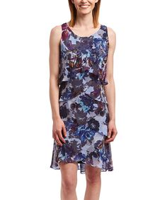 Purple Floral Tiered Scoop-Neck Dress - Women