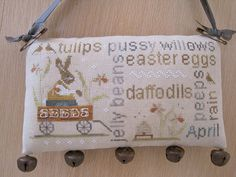easter cross stitch pattern april word play with thy needle & thread at thecottageneedle.com