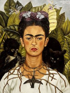 f107db0252 Frida Kahlo Self-Portrait with Necklace of Thorns print canvas giclee  8X12 12X17