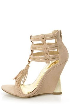 Beige and Gold Ankle Cuff Wedge Sandals