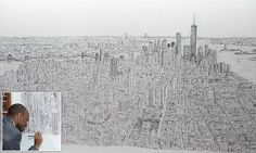 Stephen Wiltshire, who is internationally acclaimed for his work, drew the entire Manhattan Skyline in pristine detail after a 45-minute helicopter ride around the island. Renowned autistic artist Stephen Wiltshire spends five days drawing the Empire State Building and New York City from MEMORY after 45-minute helicopter ride - and the detail is incredible