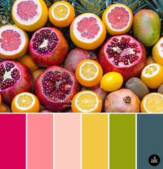 How yummy is this color palette? Bright, tropical hues are a bold choice for branding, but they certainly make me happy. And thirsty—or is it hungry? POMEGRANATE / PINK color palette a fruit-inspired color palette (Akula Kreative) Color Palette For Home, Summer Color Palettes, Color Schemes Colour Palettes, Colour Pallette, Color Palate, Summer Colors, Color Combos, Bright Colour Palette, Orange Color Schemes