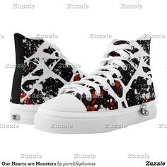Our Hearts are Monsters High-Top Sneakers - Printed Unisex Canvas Slip-On #Shoes Creative Casual #Footwear #Fashion #Designs From Talented Artists - #sneakers #feet #fashion #design #fashiondesign #designer #fashiondesigner #style - Look sporty stylish and elegant in a pair of unique custom sneakers - Each pair of custom Low Top ZIPZ Shoes is designed so you can fit your style to any wardrobe mood party or occasion - Fashionable sneakers for kids and adults give you a unique and personalized…
