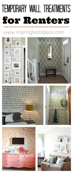 temporary wall treatments for renters, and for the rest of us http://www.makinghomebase.com/temporary-wall-treatments/