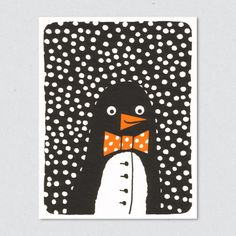 Penguin craft - black & white paper, scrapbook paper for bowtie and white paint for snow.