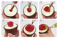 Learn how to make amazing buttercream rose cupcakes in this free tutorial from Queen of Hearts Couture Cakes, authors of The Contemporary Buttercream Bible. Creative Cake Decorating, Cake Decorating Techniques, Cake Decorating Tutorials, Creative Cakes, Cookie Decorating, Buttercream Roses, Buttercream Flowers Tutorial, Couture Cakes, Gateaux Cake
