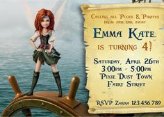 Pirate Fairy Invitation - Pirate Fairy Party - Pirate Fairy  Birthday -  Zarina - Tinkerbell