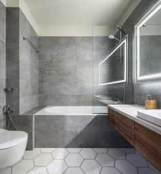 Home Design, Design Ideas, Design Concepts, Glass Shower Panels, Lavatory Design, Narrow Bathroom, Master Bathrooms, Jack And Jill Bathroom, Grey Tiles