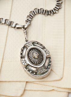 Victorian English Silver Box Chain & Chunky Locket