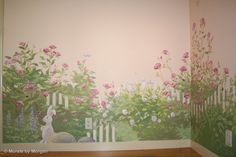 Rose Garden Nursery Mural - Bunny in the Garden - Hand Painted Wall Murals - San Francisco, San Jose, Palo Alto - Murals by Morgan