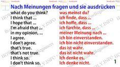 German for all Deutsch für alle: Nach Meinungen fragen und sie ausdrücken