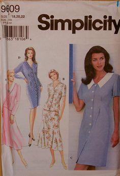 "Dress, Top & Skirt - 1990's - Simplicity Pattern 9609 Uncut    Sizes  18-20-22   Bust 40-42-44"""