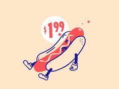 NYC - Hot Dog by Aimee David on Dribbble City Branding, Dog Branding, Branding Design, Hot Dog Drawing, Dog Logo Design, Pen Illustration, Dog Poster, Graphic Design Posters, Food Illustrations