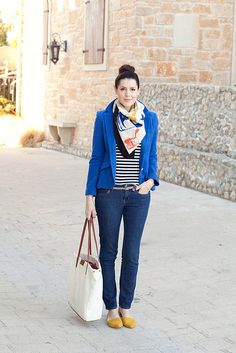 from kendi everyday/ stripes omplimented by blue blazer and mustard accessories.