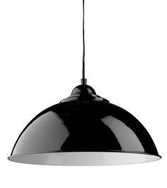 Searchlight 'Sanford' Half Dome Ceiling Pendant Light, Black With White Inner - 8140BK