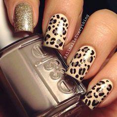 Beautiful nails Beautiful nails 2016 Beige and gold nails Evening dress nails Evening nails Fashion nails 2016 Glitter nails Metallic gold nail polish Cheetah Nail Art, Cheetah Nail Designs, Leopard Print Nails, Nail Art Designs, Leopard Prints, Animal Prints, Cute Nails, Pretty Nails, Diy Nails