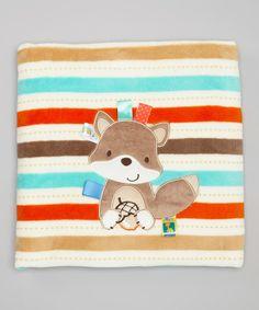 Light Blue Stripe Fox Microfleece Receiving Blanket