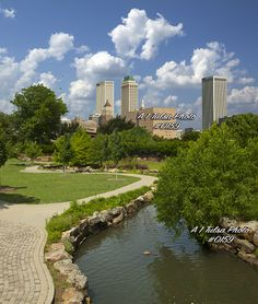A skyline picture of Tulsa Oklahoma taking from Tulsa Central Park near downtown looks like a great fine Art cityscape picture