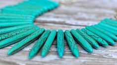 CHRISTMAS SALE Turquoise Stone Spikes Primitive by Cheshujewelry, $46.00