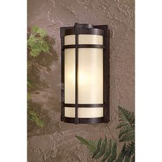 This inspired lighting fixture brings great style to your patio, porch, or outdoor space. high x wide. Extends 5 from the wall. Includes one 26 watt energy efficient fluorescent bulb. Style # 17257 at Lamps Plus. Modern Outdoor Wall Lighting, Patio Lighting, Outdoor Wall Sconce, Outdoor Walls, Building A Pergola, Deck With Pergola, Gazebo, Exterior Stairs, Bronze Finish