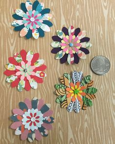 """Handmade 2"""" Paper Flowers With 1"""" Flower Centers - 5 Count Pack by cemFLORAL on Etsy"""