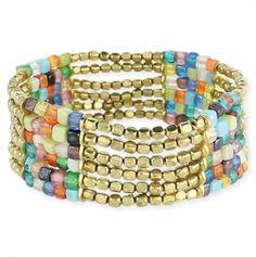 Jewelry Idea:  Mosaic and Metal Bead Stretch Bracelet