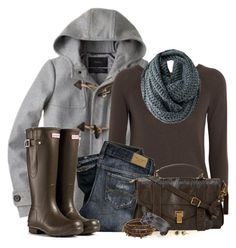 """""""Hunter Boots"""" by tufootballmom ❤ liked on Polyvore featuring J.Crew, MICHAEL Michael Kors, F, Proenza Schouler, Stella & Dot, Chan Luu and Brunello Cucinelli"""