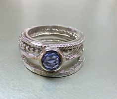Rose cut blue sapphire engagement or stacking by ValerieKStudio, $275.00