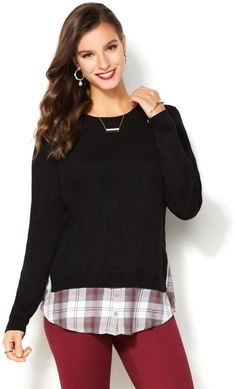 IMAN Global Chic Runway Glam Luxury Layered Plaid Sweater