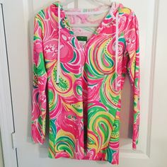 NWT Lilly Pulitzer All Nighter Meagan Tunic Hoodie Super cute terry cloth hoodie tunic! The perfect cover-up for the beach! New with tags! Lilly Pulitzer Tops Sweatshirts & Hoodies