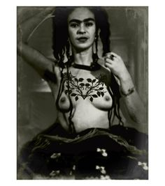 Frida Kahlo Art Print Original Photomontage Signed Mixed Media Collage Topless With Roses Tattoo in Black White Vintage Style Modern Home