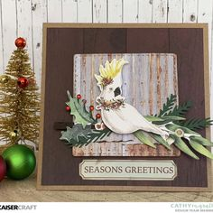 Today I am excited to share with you a Christmas card that has an Australian flair, both inside and out! I will be using products from Under the Gum Leaves… Homemade Christmas Cards, Christmas Cards To Make, Vintage Christmas Cards, Christmas Art, Homemade Cards, Christmas Decorations, Christmas Journal, Summer Christmas, Christmas Graphics