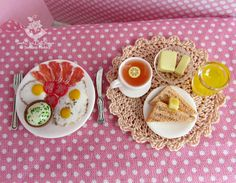 A set of miniature foods for Dollhouse and dolls. Miniature
