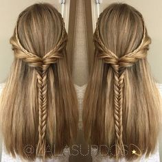 50 Half Updos for Your Perfect Everyday and Party Looks braided half updo for thick straight hair Hairstyles Haircuts, Down Hairstyles, Braided Hairstyles, Formal Hairstyles, Simple Hairstyles, Straight Hairstyles Prom, Straight Hair Updo, Elven Hairstyles, Thick Hair