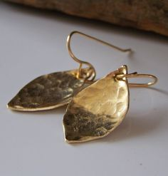 Metalwork Earrings, Brass Leaf Earrings, Hand Hammered, Etsy Jewelry, Etsy, Gift, Leaf, Leaves, Jewelry. $16.00, via Etsy.