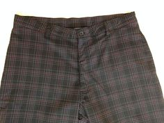 "Men's Golf Pants Tag 36 x 32 (actual 31"") Champion Plaid Flat Front Poly Spandex #Champion #Golfpants"