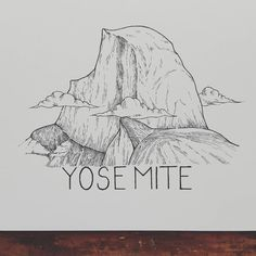 Half Dome in Yosemite Adventure and Outdoor Graphics. Travel Sketchbook, Watercolor Sketchbook, Rainy Day Crafts, Temple Design, Mountain Tattoo, Nature Tattoos, Easy Drawings, Illustration Art, Illustrations