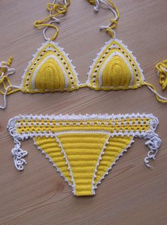 Crochet Yellow - White Sexy Bikini    1st class materials were made with the mercerized.    Holiday gifts for all of you and your family ones.