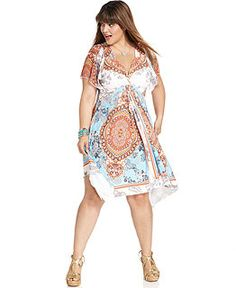 NEW! One World Plus Size Dress, Short-Sleeve Printed Crochet