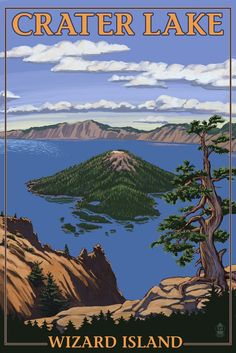 Crater Lake, Oregon - Wizard Island View Giclee Gallery Print, Wall Decor Travel Poster) *** Trust me, this is great! Click the image. National Park Posters, National Parks, Party Vintage, Crater Lake Oregon, Crater Lake National Park, Vintage Travel Posters, State Parks, Illustrations, Island