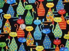 Colorful Crazy Cats  Fabric By The Yard by TheFabricFox on Etsy, $9.25