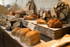 So, I'm thinking of simple ways to showcase the bread. A cool well-lit counter display front and center?
