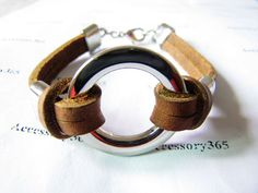 Brown Leather  Metal Buckle Men or Women Wristband by braceletcool, $6.00